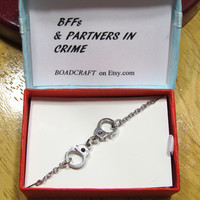 304 STAINLESS STEEL chain, partners in crime BFFs bracelet, handcuff bracelet quote gift