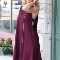 Side Cut Out Suede Dress {Plum}