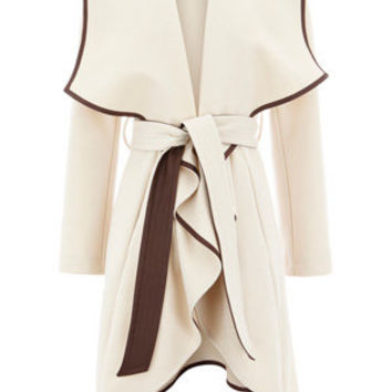 Oasis Shop |  Cream Faux Leather Trim Belted Drape Coat | Womens Fashion Clothing | Oasis Stores UK