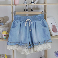 Lace Trimmed Denim Shorts