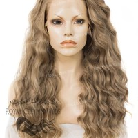 "24 inch Heat Safe Synthetic Lace Front ""Ada"" with Wavy Texture in Dark Ash Blonde"