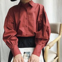 2018 Autumn Classic Puff Sleeve Cotton Blouse Women White Turn Down Collar Loose Office Lady Work Shirts Navy Vintage Blusas