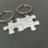 I love you I love you more, Couples Keychains, Puzzle Piece Keychains , Anniversary Gift