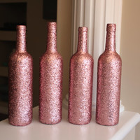 Rose Centerpiece, Pink Wedding Centerpiece, Pink Wine Bottles, Rose Wedding Centerpiece, Bridal Shower centerpiece, Pink Sparkle