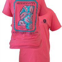 SALE Southern Couture Mississippi Preppy Paisley State Pattern Magnolia State Girlie Bright T Shirt