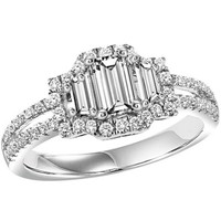 14K White Gold 1.17cttw Emerald Cut 3-Stone Plus Diamond Engagement Ring