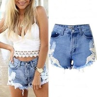 Women Summer Sexy Hollow Flower Pattern Lace Patchwork Denim Jeans Shorts