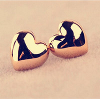 Gold/Silver Plated Heart Stud Earrings For Women Wedding Jewelry Accessories 2 Colors