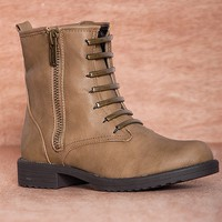 Dollhouse Footwear Future Feature Metal Laces Cover Combat Boots Mystery - Taupe