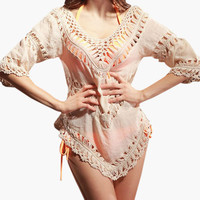 Apricot Knitted Accent V-Neck Cover-up