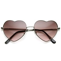 zeroUV - Small Thin Metal Heart Shaped Frame Cupid Sunglasses (Gold Amber)