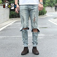Cool Mens Hip Hop Jeans Skinny Pencil Men Denim Pants Destroyed Distressed Ripped Jeans With Holes For Men