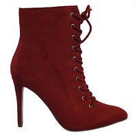 Stain High Heel Combat Lace Up Ankle Bootie w Pointed Toe & Corset