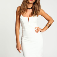 Ivory Cami Slit Bodycon Dress