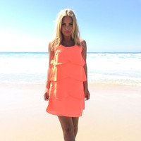 Driftwood Shift Dress In Neon Coral