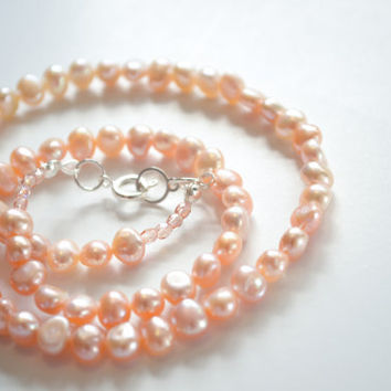 Peachy Pink Freshwater Pearl Necklace - Ready to Ship