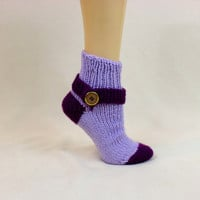 Purple Thick Sock Tube House Slipper Button Ribbed Strap Knit