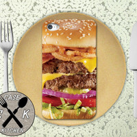 Cheeseburger Closup Burger Food Funny Cool Custom Rubber Tough Phone Case For The iPhone 4 and 4s and iPhone 5 and 5s and 5c