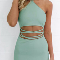 Green Halter Neck Cut Out Waist Scalloped Hem Zip Back Dress