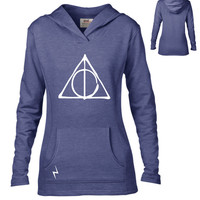 Harry Potter Inspired Clothing - Deathly Hallows Symbol Semi-Fitted Lightweight Pullover Hoodie - Ladies