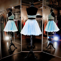 Beaded Homecoming Cocktail Party Prom Dress Two Piece Short Evening Formal Gown