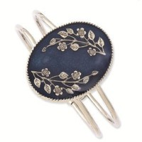 Silver-tone Blue Oval w/ Flowers Hinged Bracelet - 1928 Antiqued Boutique - Vintage Styling - Jewelry: Jewelry: Amazon.com