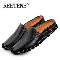 2016 New Arrival Genuine Leather Sandals Loafers Men Shoes Men Fashion Summer Breathable Flats Shoes Cool Comfortable Slides