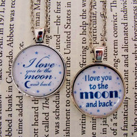 Mother Daughter I Love You To The Moon And Back Necklace Set. Mother's Day, Birthday, Anniversary Gift, 18 Inch Chain.