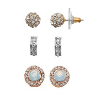 Jennifer Lopez Stud & Semi-Hoop Earring Set (Rose Gold/Silver/Gold)