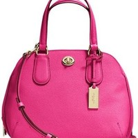 Coach Mini Crossgrain Leather Pink Satchel