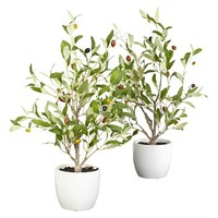 "Nearly Natural Set of 2 Silk Olive Plants - (18"")"