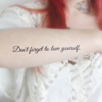 Quote temporary tattoo - Motivational, possitive, Unique, Tattoo, large, Black, Ink
