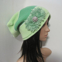 Mint Green Striped Recycled Sweater Slouch Beanie With Mint Chiffon Flowers and Pearl Rhinestone Accent Winter Hats Sweater Hats Accessories