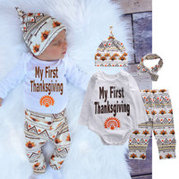 4pcs Set Autumn Outfits Set Newborn Toddler Infant Kids Baby Boy Children Clothes Romper Tops+Pants Baby Clothing