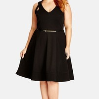 Plus Size Women's City Chic 'Date Night' Fit & Flare Sleeveless Dress,