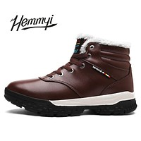 Hemmyi New men's boots winter Keep warm lace-up leather ankle boots for male shoes Botas Snow Boots homme big size 6.5-14