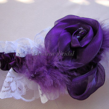Lace garter, bridal garter, wedding/prom garter with feather and rosette