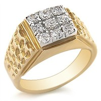 Yellow Gold Ring 2W062 Gold+Rhodium Brass Ring with AAA Grade CZ