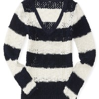 Sheer Stripe Knit V-Neck Sweater - Aeropostale