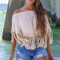 Natural Beach Babe Fringe Tube Top