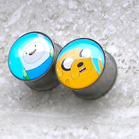 "Adventure Time Finn & Jake Plugs - One PAIR - Sizes 2g, 0g, 00g, 7/16"", 1/2"", 9/16"", 5/8"", 3/4"", 7/8"", 1"" - Made To Order"