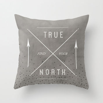 Grey Inspirational Quote Compass Stars Typography Throw Pillow Cover Decorative Minimalist Decor Text Pillow Cover Grey and White Decor