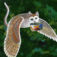 Owlcat With Friskies Mixed Media by EJ Lefavour - Owlcat With Friskies Fine Art Prints and Posters for Sale