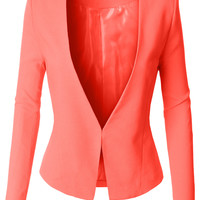 LE3NO Womens Textured Fully Lined Tuxedo Blazer Jacket (CLEARANCE)