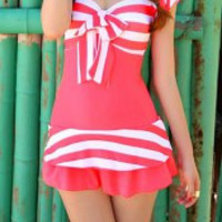 Striped Bowknot Swimsuit in Pink and Blue