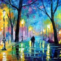"""Fog In The Park 2 —  Oil Painting On Canvas By Leonid Afremov. Size: 40""""x30 Arts"""