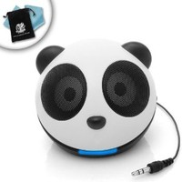 Panda Pal Portable 3.5mm Mini Media Speaker with High Powered Micro Drivers for Smartphones , Tablets , MP3 Players , Laptop Computers and More - by GOgroove Audio