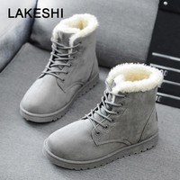Women Boots Faux Suede Ankle Boots Women Warm Fur Snow Boots 2018 Winter Shoes Martin boots Ladies Work Rounde Toe Female Shoes