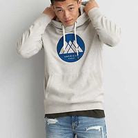 AEO Graphic Pullover Hoodie, Oatmeal Heather