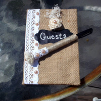 Rustic wedding guest book and pen set wedding guest book wedding accessories